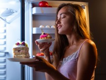 Hungry,Woman,In,Pajamas,Eats,Flour,Products,At,Night,Near