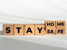 Stay,At,Home,Stay,Safe,Message,On,Wooden,Blocks.,Coronavirus
