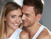 Love,And,Care.,Closeup,Happy,Beautiful,Lovely,Couple.,Smiling,Woman