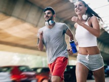 Attractive,Man,And,Beautiful,Woman,Jogging,Together