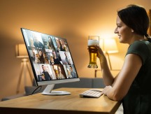 Virtual,Beer,Drink,Online,Party,Using,Computer