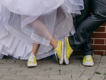 Funny,Wedding,Couple.,Concept,Yellow,Sneakers,And,Wedding